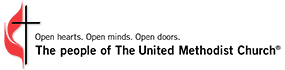 The United Methodist Church logo. Open hearts. Open minds. Open doors. The people of The United Methodist Church